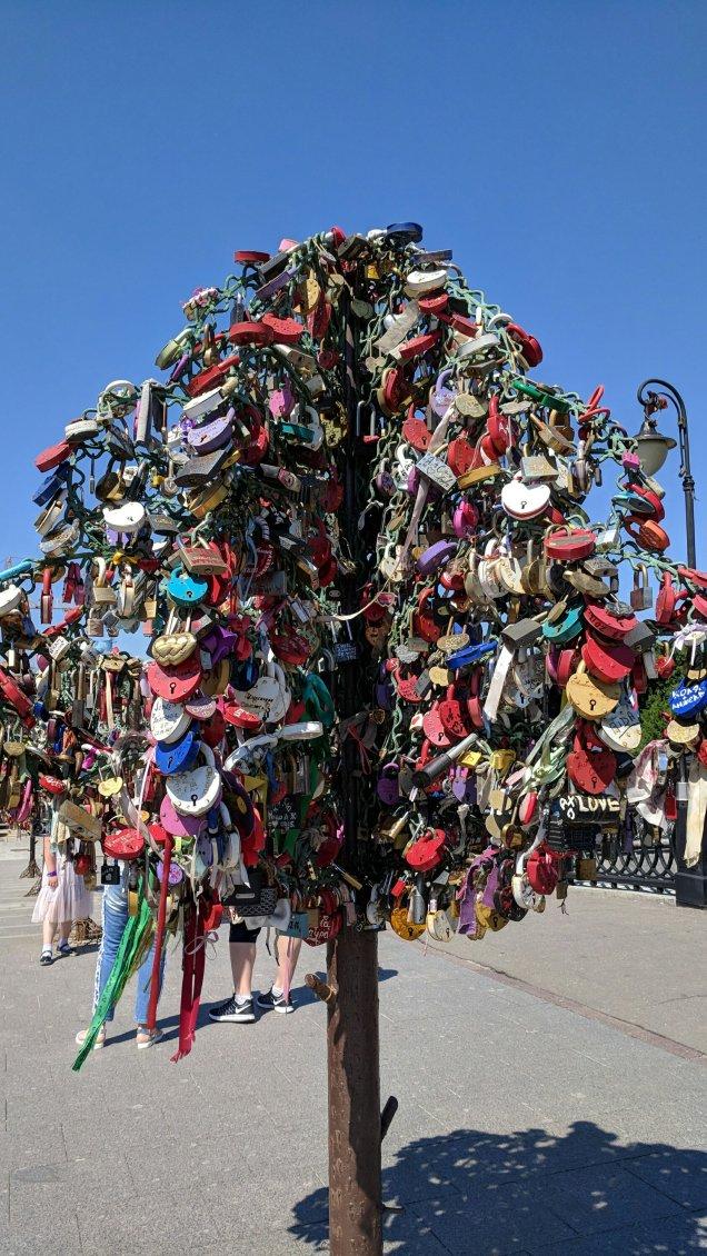 """""""lock tree"""" on Bridge of Love, Moscow"""
