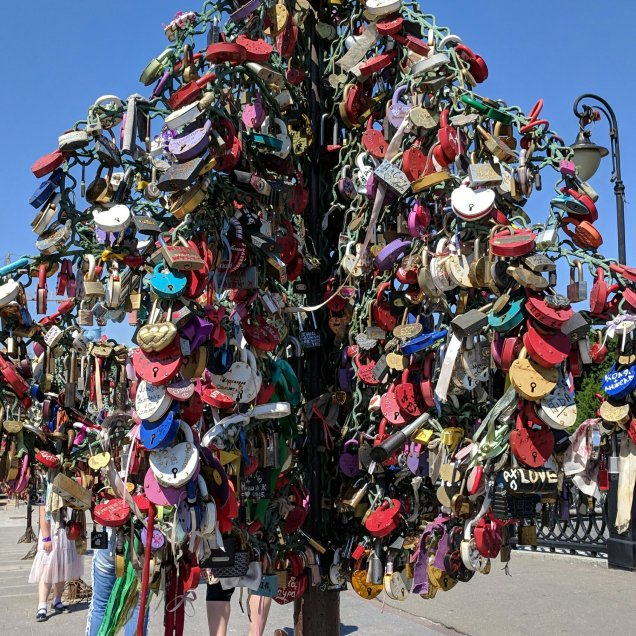 """lock tree"" on Bridge of Love, Moscow"